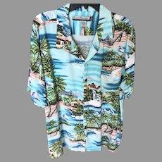 Vintage Hawaiian Sky Blue Island Motif Aloha Shirt SZ XL