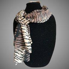 Vintage Tiger Print Silk Crepe Scarf