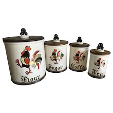Vintage Metlox Poppytrail Red Rooster Pottery Canister Set
