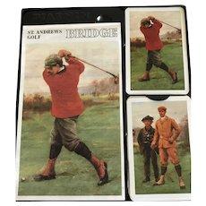 St Andrews Old Course Golf Scotland Piatnik  Bridge Set with Cards and Score Pad