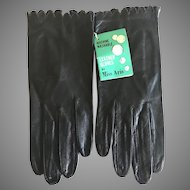 Vintage NWT Miss Aris Black Kid Gloves SZ 7