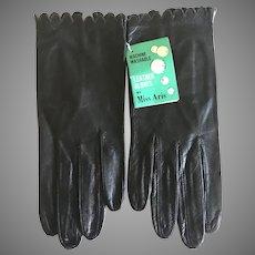 Vintage NWT Miss Aris Black Kid Gloves SZ 7