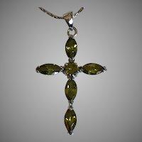 Vintage Peridot Green Crystal Cross Necklace