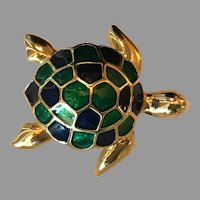 Vintage Gold Tone and Enameled Sea Turtle Pin / Brooch