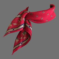 Vintage Red Cotton Hunt Motif Scarf