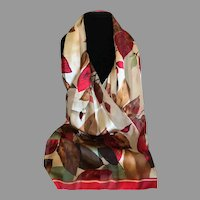 Vintage Autumn Motif Easy Care Polyester Scarf