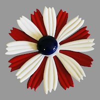 Vintage Red White and Blue Daisy Brooch / Pin
