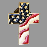 Vintage Red White and Blue Flag Motif Cross Lapel Pin