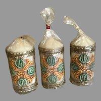Three Vintage West Germany Handarbeit Wachskunst Wax Candles