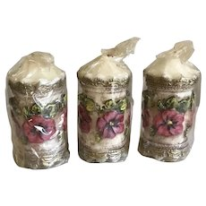 Three Hollywood Regency West Germany Handarbeit Wachskunst Wax Candles