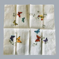 Vintage Butterfly Cotton Handkerchief