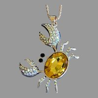 Sunny Yellow Rhinestone Crab Pendant Necklace by Betsey Johnson
