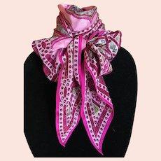 Vintage Oscar de la Renta Silk Pink Mandala Scarf