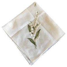 Vintage Lily of the Valley Cotton Handkerchief Switzerland
