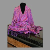 Vintage Silk and Cashmere Wrap / Shawl / Scarf