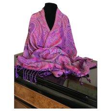 Vintage Silk and Cashmere Wrap / Shawl / Scarf
