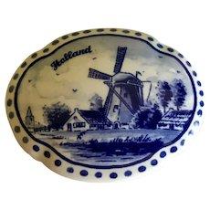 VIntage Dutch Delft Ceramic Trinket Box Holland