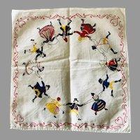 Vintage Dutch Dancing Children Cotton Handkerchief