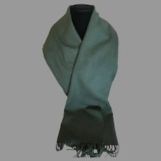 Vintage Loden Green Cotton Flannel Scarf Germany
