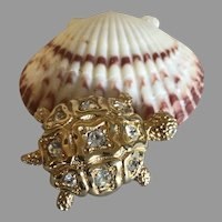 Signed Swarovski Crystal and Gold Plate Sea Turtle Brooch / Pin