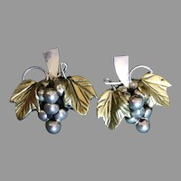 Vintage Aguila Mexican Sterling Silver Grape Cluster Earrings
