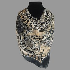 Vintage Tiger and Cheetah print Italian Scarf