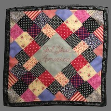 God Bless America patchwork quilt theme 100% Polyester Scarf