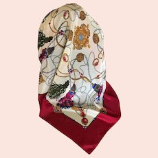 Vintage Silk Tassel Motif Scarf Made in Italy