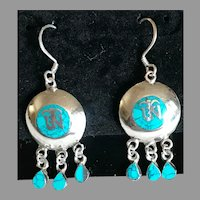 Bohemian Turquoise Mosaic and Sterling Silver Earrings