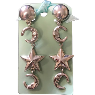 Vintage Mexican Sterling Silver Half Moons and Star Dangling Earrings