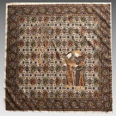 Mongolian motif polyester scarf