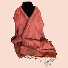 Vintage Jim Thompson Muted Rust and Taupe Pure Silk Scarf Shawl Wrap