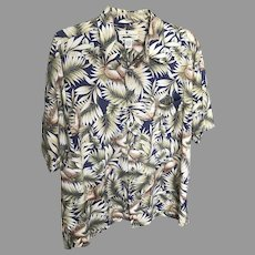 Vintage Island Connections Honolulu Crane Motif Cotton Aloha Shirt