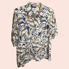 Vintage Island Connections Honolulu Crane Motif Cotton Aloha Shirt