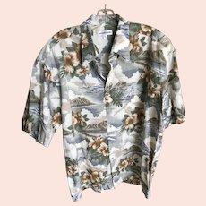 Rare Vintage Pierre Cardin Hawaiian Shirt Diamond Head XL