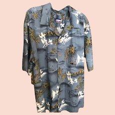 Vintage Hawaiian Island and Surfer Motif Shirt  Size 2XL