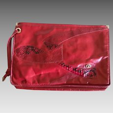 Vintage Red Carlo Fioir of Italy Clutch Handbag Purse