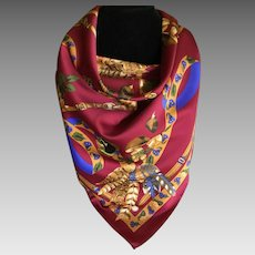 Vintage Deep Red Fall Themed Scarf Italy