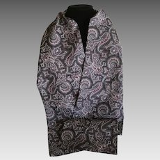 Vintage Silk double sided coat scarf in Charcoal