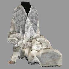 Vintage Semi Sheer Wool and Beaded and Rhinestoned Silk Wrap / Scarf