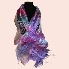 Sheer Silk Diaphanous Wrap or Scarf