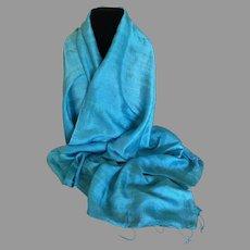 Turquoise Thai Silk Wrap / Shawl