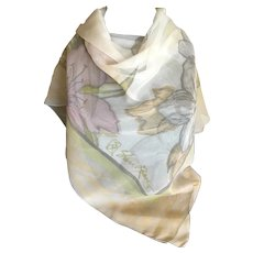 Vintage Gossamer Pastel Silk Chiffon Sheri Reese Scarf