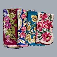 Four 1950s Cotton Floral Handkerchiefs