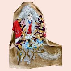 Vintage Japanese Kimono Silk Kabuki Dancer Scarf