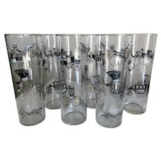 Mid Century Modern Tall Glasses Libbey Curio Pattern Set of 6