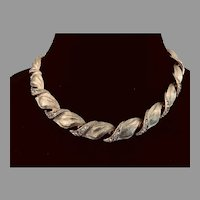 Vintage Gold Plate and Rhinestone Choker Necklace Signed 'ART'
