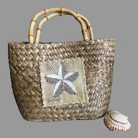 Woven Straw with Bamboo Handles Starfish Small Tote Purse / Handbag