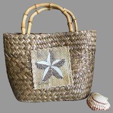 Woven Straw with Bamboo Handles Starfish Small Tote Purse / Handbag