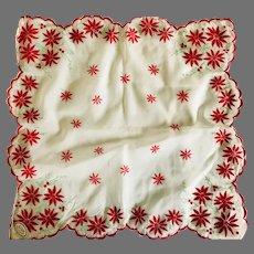 Vintage Flocked Poinsettia Handkerchief